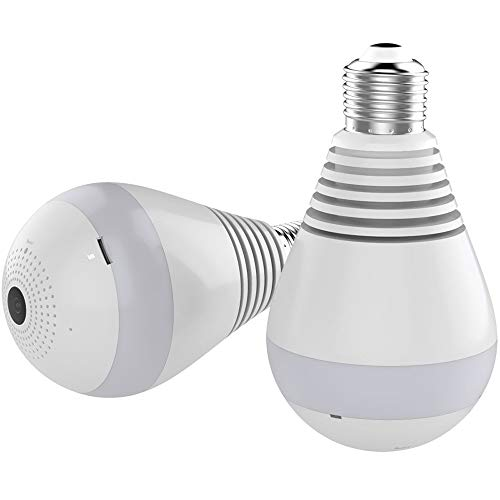 SSSabsir Wifi IP Camera 1080P Bulb Light 360 Degree Wi-fi Fish-eye Camera Home Security Panoramic Camera ?Infrared night vision version