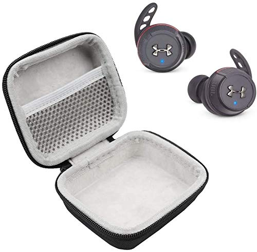 JBL Under Armour Flash True Wireless in-Ear Sport Headphones On-The-Go Bundle with Deluxe Hard-Shell Case (Black)