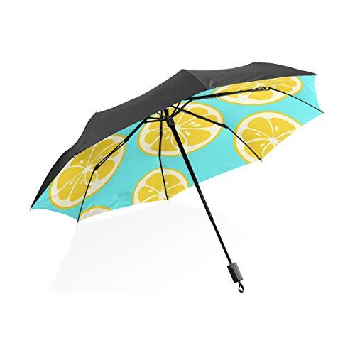 A Prueba Viento Lluvia Paraguas Pomelo Fruta Amarilla Rodajas Limón Portátil Plegable Paraguas Plegable Protección contra UV A Prueba Viento Al Aire Libre Viajes Paraguas Las Mujeres para Viajar