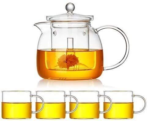 Bouilloire induction Théière à théière en verre Théière transparente avec petite tasse et plaque de cuisson en acier inoxydable 1350 ml pour un ensemble de thé extérieur de bureau à domicile WHLONG