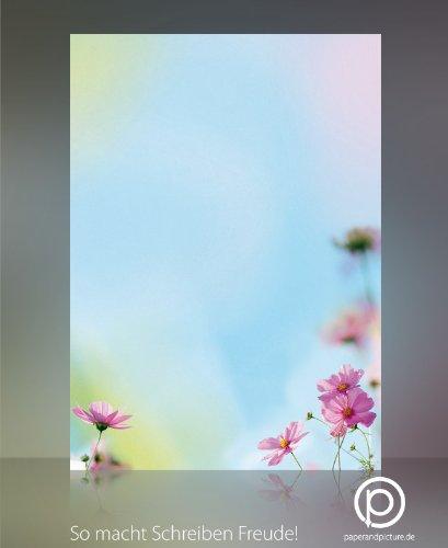 Motivpapier mit Blumen COSMEA, 100 Blatt DIN A4, 90g/qm, tolles Natur Briefpapier für private und geschäftliche Briefe, Einladungen, Speisekarten, Werbe-Flyer, kleine Plakate. Für Laserdrucker, Tintenstrahldrucker, Kopierer oder zum Beschreiben von Hand