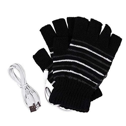 SYXX Gants rechargeable Heating hommes et femmes, USB Fingerless Gants chauffants laine tricotée main chaude, auto-chauffant l'hiver au chaud touchables écran Hommes et femmes demi-doigts Gants Bureau