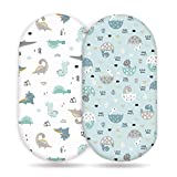 Stretch Ultra Soft Fitted Bassinet Sheet Set 2 Pack,Universal Cradle Sheet Set for Rectangle, Oval, or Hourglass Bassinet Pad/Mattress,Happy Dinosaurs for Girls and Boys