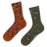 soxo Damen Socken Leoparden Motiv (2 Paar) | Tiermuster Design Baumwolle Frauen Socken (Khaki/Rot)
