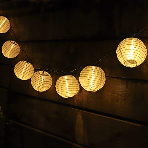 ZHONGXIN Solar Lantern String Lights 10M/32.6ft 50 Warm White Lantern Fairy Lights Waterproof Solar Powered Garden Lights for Summer Party Fenced Backyard Halloween Christmas Wedding Decorations