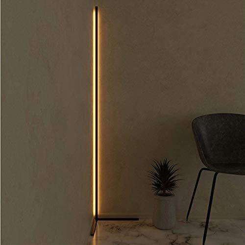 R&P LED Stehlampe Dimmbar Eck-Stehleuchte mit Fernbedienung, Für Arbeitszimmer/Schlafzimmer/Wohnzimmer, 55 in,Schwarz