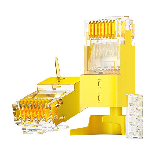 AMPCOM 2-Piece Suit CAT6A & CAT7 Shielded RJ45 Modular Plug Connector 50UM 8P8C Support up to 23AWG (0.573mm) - 10PCS