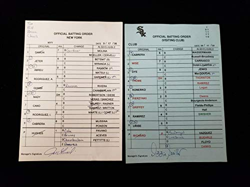 Lot of 2 Diff 9/17/08 SIGNED Chicago White Sox & NY Yankees Lineup Cards Girardi - Baseball Slabbed Autographed Cards