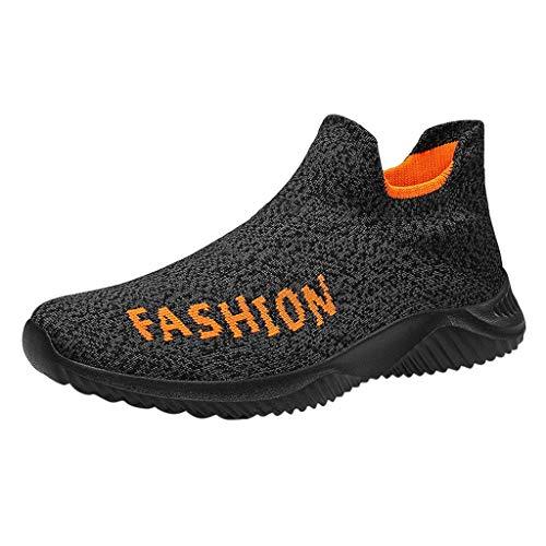 HDUFGJ Herren Damen Sneaker Atmungsaktiv Socken Schuhe Laufschuhe Mode Outdoor-Schuhe Freizeitschuhe Bequem Leichtgewicht Faule Schuhe Turnschuhe Fitnessschuhe Flache Schuhe Clogs40 EU(Orange)