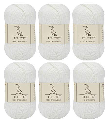 TEHETE Ovillo de lana, 100% puro Cashmere Suave de Lujo Ligero para manta, ganchillo y tejido -...