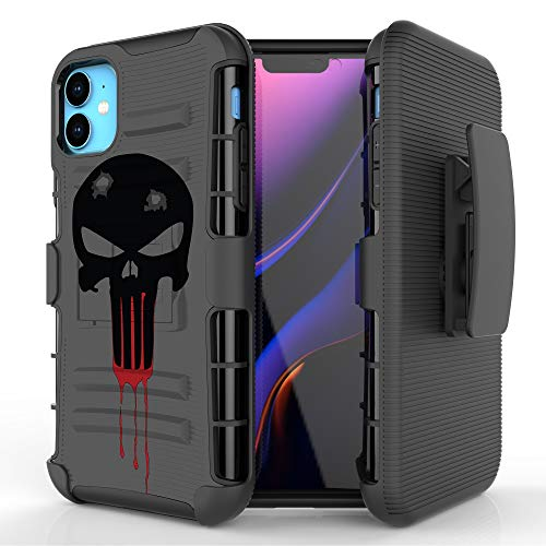 Customerfirst Case for iPhone 11 PRO (5.8') Swivel Belt Clip Holster Heavy Duty Dual Armor Hybrid Defender Skull iPhone11Pro Cover + Kickstand & Rugged Grip (Black Ops Bullet)