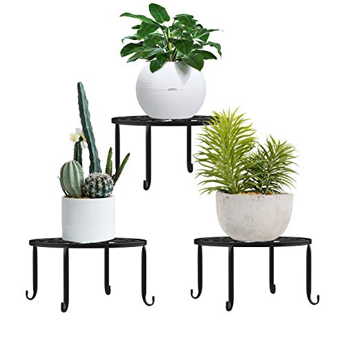 Lewondr Potted Plant Stand, [3-Pack] Indoor Iron Flowerpot Holder Rustproof Durable Metal Garden Container Outdoor Decorative Round Supports for Planter – Black