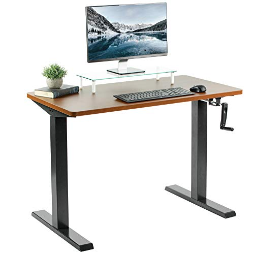 VIVO Manual Height Adjustable 43 x 24 inch Stand Up Desk, Dark Walnut Solid One-Piece Table Top, Black Frame, Standing Workstation with Foldable Handle, DESK-KIT-MB4D