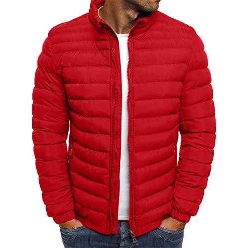 Mantel Herren Jacke Herren Reißverschluss All-Match Trend Einfarbig Einfache Mode Herrenmantel Herbst Und Winter Neue Warm Hochwertige Herren Sport Jacke Daunenjacke A-Red L