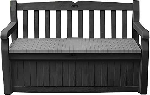 GSD Keter Eden Bench Outdoor Storage Box Garden Furniture, Graphite and Grey, 132.5L x 75W x 18.5H cm