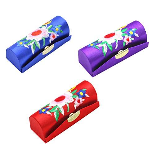 TOPBATHY 3Pcs Rétro Étuis à Rouge à Lèvres Broderie Fleur Motif Titulaire de Rouge à Lèvres avec Miroir Maquillage Boîte de Rangement Organisateur (Rouge + Violet + Bleu Royal)