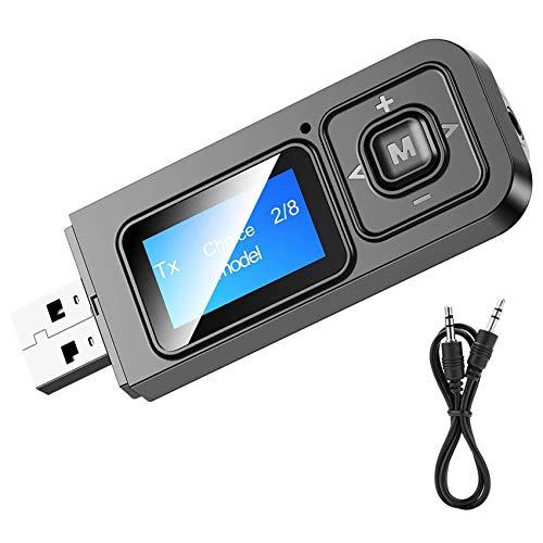 EasyULT Bluetooth 5.0 Trasmettitore Ricevitore 5 in 1 Adattatore 3.5mm AUX Adattatore, Wireless Portatile Ricaricabile Bluetooth con Display LCD, per TV, PC, Autoradio(Nero)