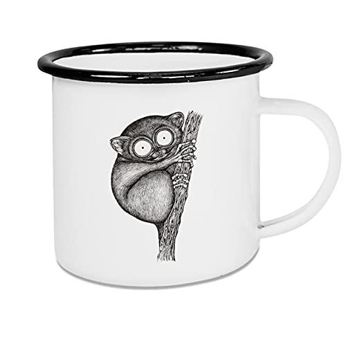 Ligarti Emaille Tasse (leicht & robust) | Camping Becher handveredelt in Deutschland | Trinkbecher für Kinder, Kaffeetasse, Emaillebecher (Koboldmaki (Lemur), 300ml)
