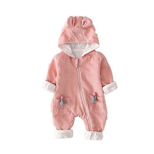Pijamas para bebé Mamelucos de una Pieza Salir de Manga Larga Unisex niña niño recién Nacido con Capucha Primavera y otoño Mono Infantil Mono de algodón Traje de 0-3 Meses en Ropa,A,73CM
