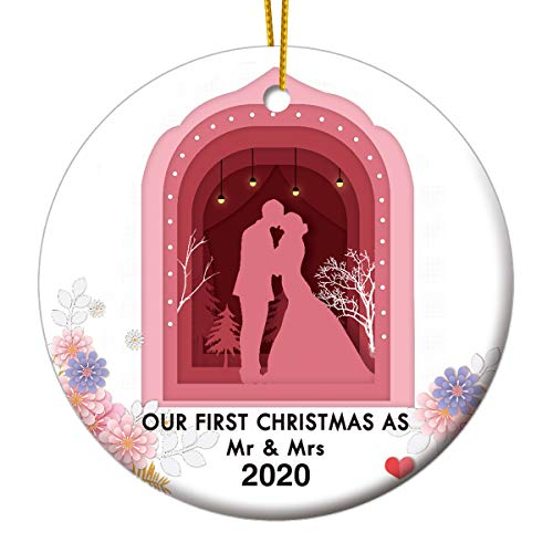 FENTASY Our First Christmas as Mr & Mrs Ornaments 2020 Christmas Tree Ornament, Newlyweds & Couples Gift, 3 Inch Flat Ceramic Ornament