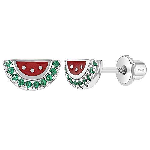 In Season Jewelry Plata Fina 925 Pendientes con Cierre de Rosca con Forma de Sandía Roja Esmaltada con Circonita Verde para Niñas y Preadolescentes