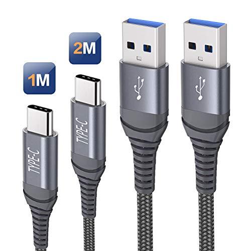 Cavo USB C Carica Rapida, Cavo USB Tipo C [1M 2M] Nylon Intrecciato Cavo Caricabatterie Ricarica Rapida per Samsung S10 S20 S21 S9 S8 Plus A40 A50 A70 A20e,Huawei P9 P20 P10 P30,Xiaomi Mi 9 Mi A2 Mi 8