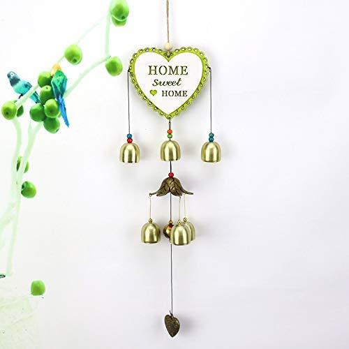 WEHOLY Carillon à Vent Dream Catcher Cartoon Alliage en Bois Carillon éolien Home Garden Store Six Bells Love