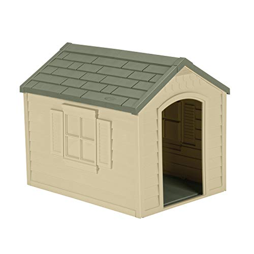 Suncast Outdoor Dog House with Door - Water Resistant and Attractive for Small...