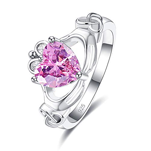 Emsione 925 Sterling Silver Plated Created Pink Topaz Heart Cut CZ Claddagh Celtic Ring Eternity Anniversary Wedding Engagement Band Ring Size 8