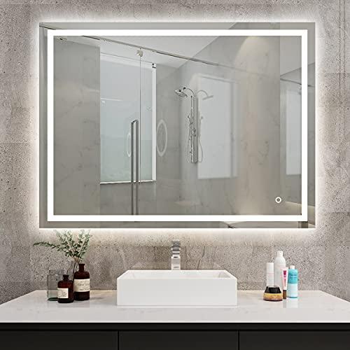 S'bagno Badezimmerspiegel, beleuchtet, LED 800 x 600 mm / dimmbar / Demister Pad 3015