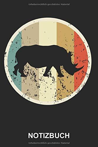 Notizbuch: Nashorn Rhinozeros Afrika Wildtiere Zoo Niedliche Tiere Retro Vintage Grunge Style | Notizbuch, Tagebuch, Notizheft, Schreibheft | ca. A5 mit Linien | 120 Seiten liniert | Softcover