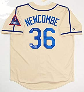 b1ae9593905 Don Newcombe Autographed Brooklyn Dodgers Cream Majestic Jersey w/NL ROY-  JSA W Auth