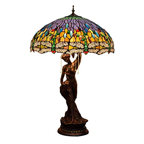 PYROJEWEL modern Table Lamp, Dragonfly Multicolor Glass Shade Desk Lamp, Vintage Decoration Bedside/Nightstand Light With Zinc Alloy Base For Living Room Bedroom Indoor (Size : 50cm) Table