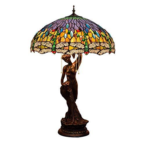 HYY-YY Lámpara de Mesa, de la libélula Multicolor Cortina de Cristal lámpara de Escritorio, la Vendimia de la decoración de Noche/Mesilla de Noche con la luz de aleación de Zinc Base Compatible with