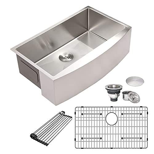 Stainless Farmhouse Kitchen Sink - Mocoloo 33 Inch Stainless Steel Farmhouse Sink 16 Gauge 10
