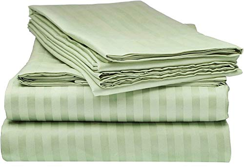 """600-Thread-Count Best 4 PC Sheet Set 100% Long-Staple Combed Cotton Bedding Sheets for Bed, Fits Mattress Upto 18'' Deep Pocket, Soft & Silky Sateen Weave - (Sage Stripe, RV King 72"""" x 80"""" +15"""" Drop)"""
