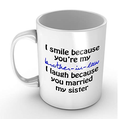 N\A onrío Porque Eres mi cuñado - Taza Blanca Divertida Tazas de café geniales de cumpleaños o Navidad para Hombres y Mujeres de Easyolife