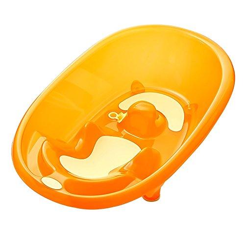 Folding bathtub-TOYM Anti-Ertrinken Baby Badewanne Neugeborenen Kann Sitzen Und Liegen In Der Universal-Babywanne Kinder Halterung rutschfeste Dusche (Farbe : Transparent orange)