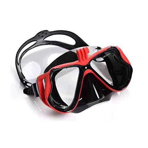 Profesional máscara del Salto, de Buzo Máscara Soporte de la cámara Equipo de Buceo Gafas de natación del Tubo respirador del Equipo de Submarinismo for Go Pro, Rojo ZHNGHENG
