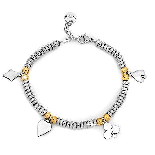 Beloved ❤ Armband Damen, Armband in Stahl mit Charms Anhänger Stern Farbe Silber, Farbe Gold–Größe verstellbar–Hypoallergen Cards Silver