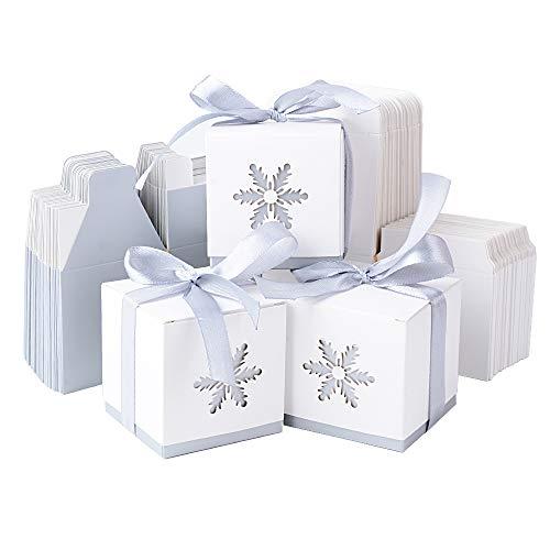 50pcs Cajas Cajitas Papel Caramelos Navidad para Bombones Dulces Galletas Regalos Recuerdos Detalles para Invitados de Boda Fiesta Bautizo Cumpleaños Comunión