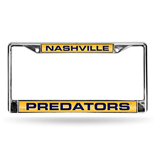 NHL Rico Industries Laser Cut Inlaid Standard Chrome License Plate Frame, Nashville Predators