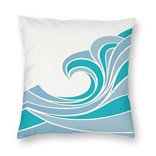 Funda de cojín con diseño de mar con olas vintage, diseño de rayas curvadas, diseño marino, 66 x 66 cm, funda de almohada decorativa cuadrada
