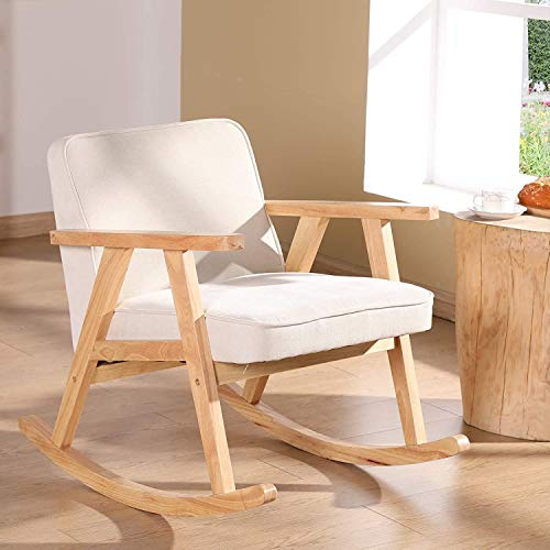 Wahson Retro Rocking Chair Armchair with Solid Wood Legs, Leisure Relax Chair for Living Room/Bedroom/Balcony (Linen, Beige)
