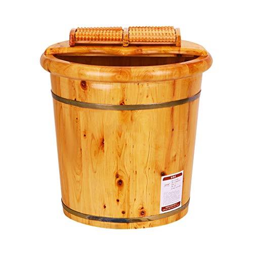 Foot Tub,Smooth And Delicate Footbath Cypress Wood Foot Basin Tub Bucket,Foot Bath Barrel For Spa,Sauna,Soak,soaking,Wooden Bucket Household Wash Basin,Pedicure Bowl Barrels With Lid With Feet Massage