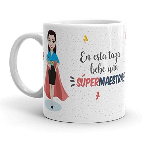 Kembilove Taza de Café de Maestra – En Esta Taza Bebe una Súper Maestra – Taza de Desayuno para la Oficina – Taza de Café y Té para Profesionales – Tazas para Maestras de Superhéroes
