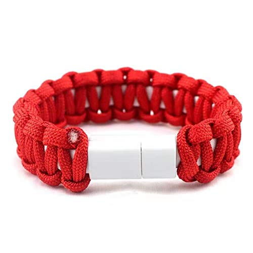 Outdoor Braided Camouflage Micro USB Type C Charge Cable Bracelet Charger Data Cable Cord for iPhone 6 X 11 Pro Samsung S8 Cable (Red, for Micro)