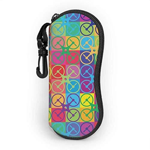 ClownFish Estuche de anteojos with Carabiner,Pop Art Drone Ultra Light Portable Neoprene Cremallera Gafas de sol Soft Case