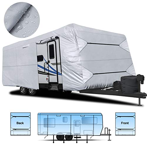 RVMasking Waterproof 150D Travel Trailer RV Cover 22'-24' L with Tongue Jack Cover & Free Adhesive Repair Patch, Ripstop & Waterproof Camper Cover
