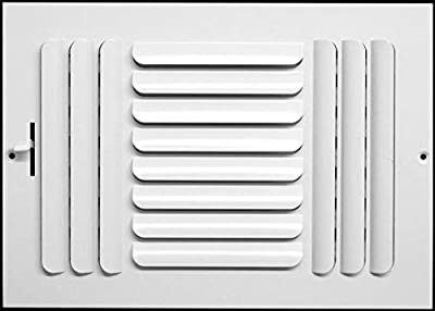 "14""w x 6""h 3-Way Fixed Curved Blade AIR Supply Diffuser - Vent Duct Cover - Grille Register - Sidewall or Ceiling - High Airflow - White"